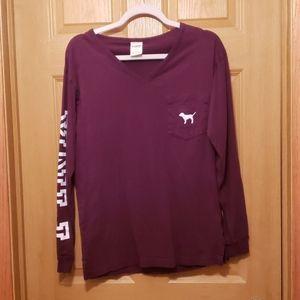 V-Neck Burgundy Long Sleeve Shirt by Pink